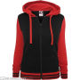 Ladies 2-Tone College Zip Hoody Black/Red