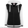 Ladies 2-Tone College Zip Hoody Black/White