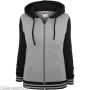Ladies 2-Tone College Zip Hoody Grey/Black