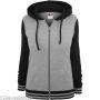 Ladies 2-Tone College Zip Hoody Grey/Black