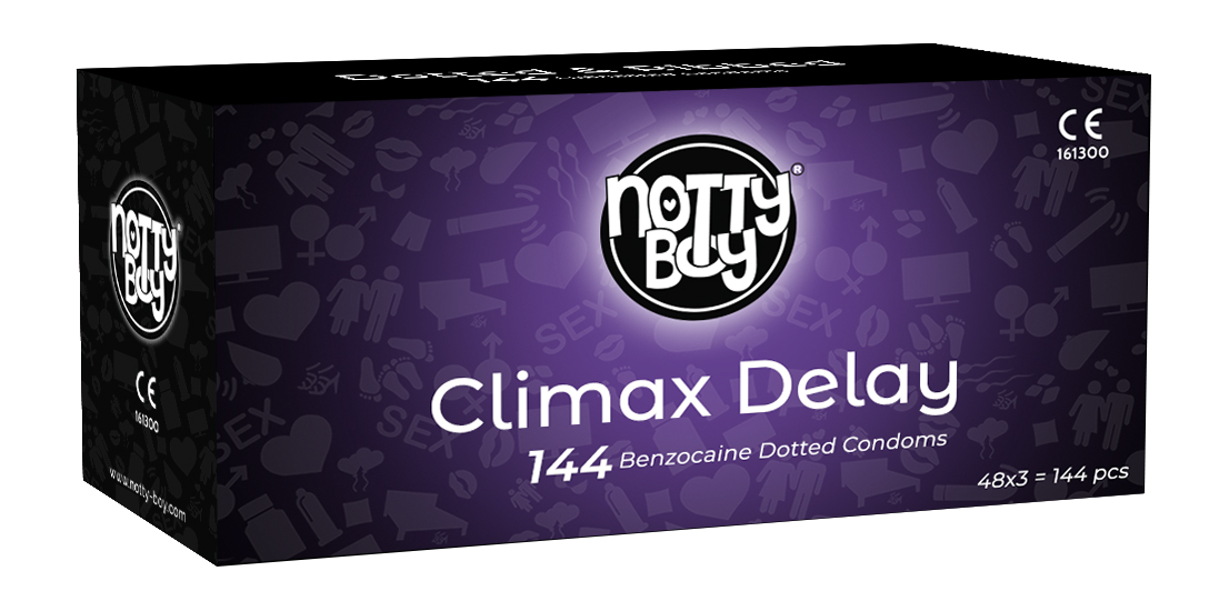 NottyBoy Condoms - Climax Delay Condom With Long Lasting Lubricant *BENZOCAINE* (48x3s - Count 144)