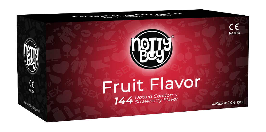 NottyBoy Strawberry Fruit Flavor Dots Condom Bulk Pack 144Ct Dotted Male Condom