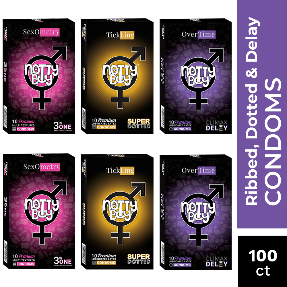 NottyBoy Condoms - 100 Count - Multi Textured Ribbed, Dotted and OverTime Climax Condoms With Delay Lubricant