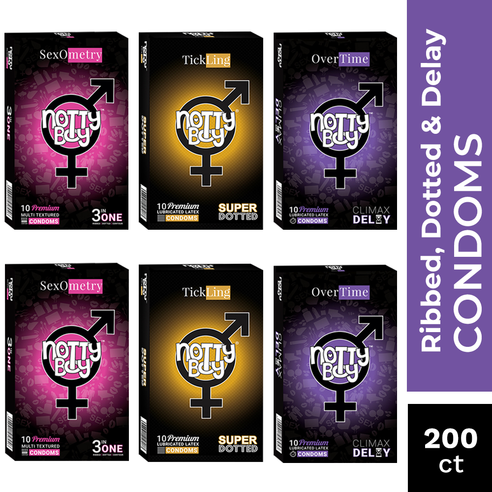 NottyBoy 200 Condoms - An Assortment of 3in1 Ribs & Dots, Extra Dotted and Long Last Condoms With Special Delay Lubricant
