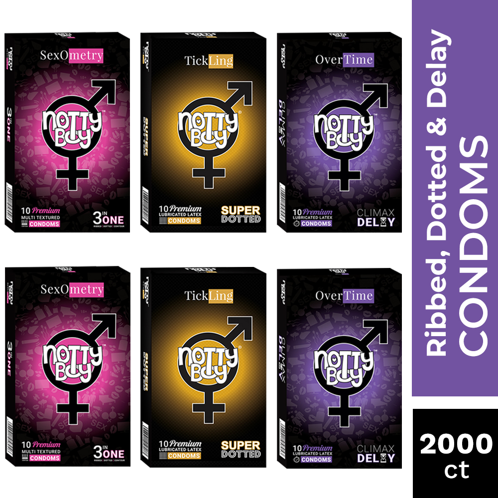 NottyBoy Condoms -Extra Time, Extra Dotted and Multi Textured 3in1 Condoms - Bulk Pack Condom For Men, 2000 Count