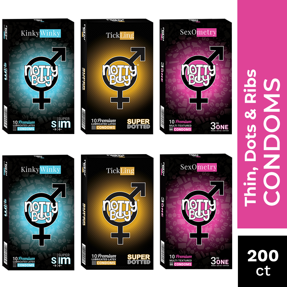 NottyBoy 200 Condoms - Variety Pack of 3in1 Dotted & Ribbed, Extra Dotted and Ultra Thin Lubricated Condoms