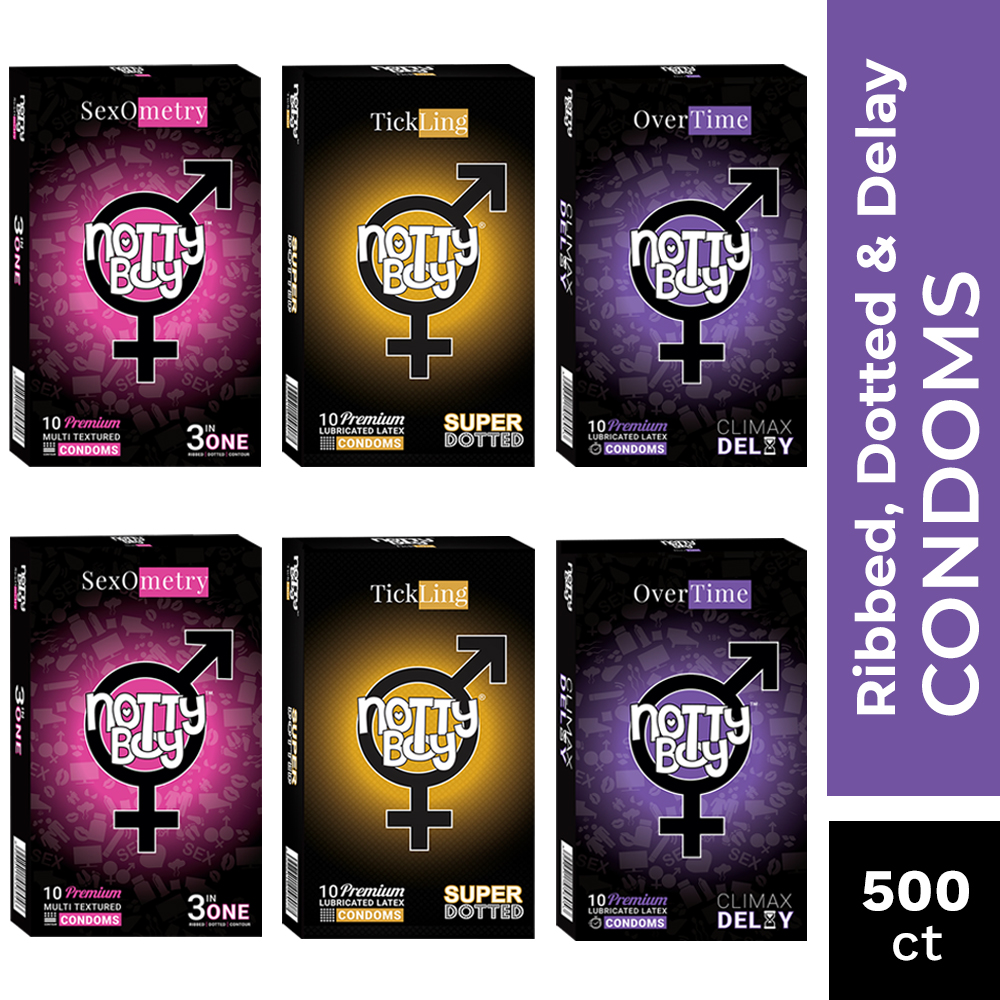 NottyBoy Condoms - 500 Count - A Mix Variety Pack Of Ribs & Dots, Extra Dots and Delay Extra Time Condoms