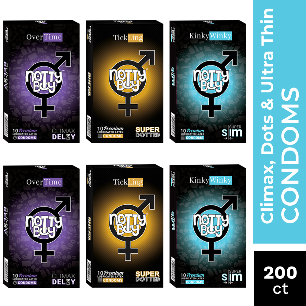 NottyBoy 200 Ct - Super Slim Extra Thin, Extra Dotted and Climax Delay Condoms With Special Delay Lubricant
