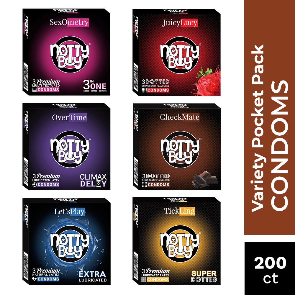 NottyBoy 200 Condoms - An Assortment of Climax Delay, Extra Dots, Extra Smooth, Ribs & Dots and Two Flavored Condoms