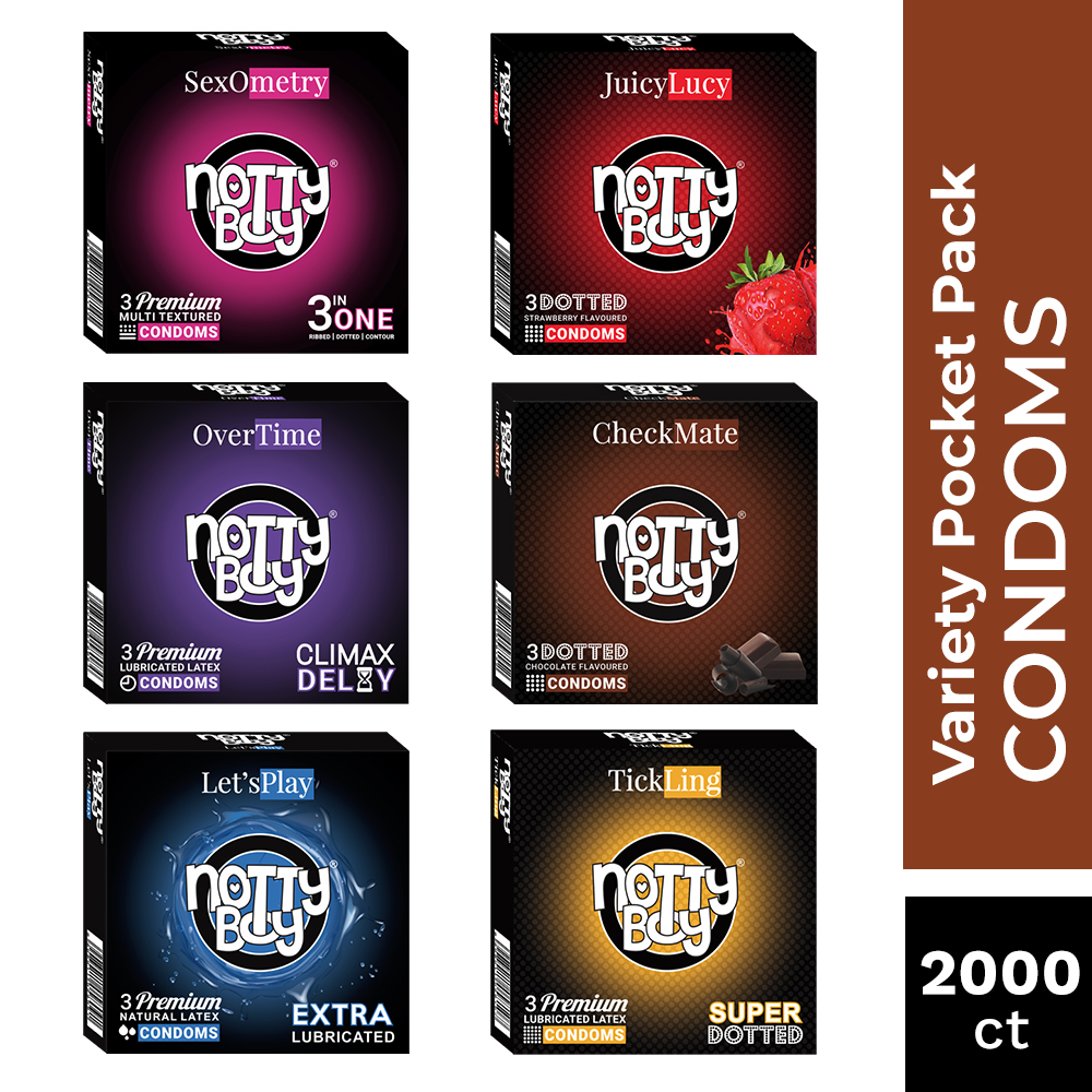 NottyBoy Condoms Bulk Pack Of 2000 Latex Condoms -An Assortment Of OverTime, TickLing, Let'sPlay, 3inOne, JuicyLucy and CheckM