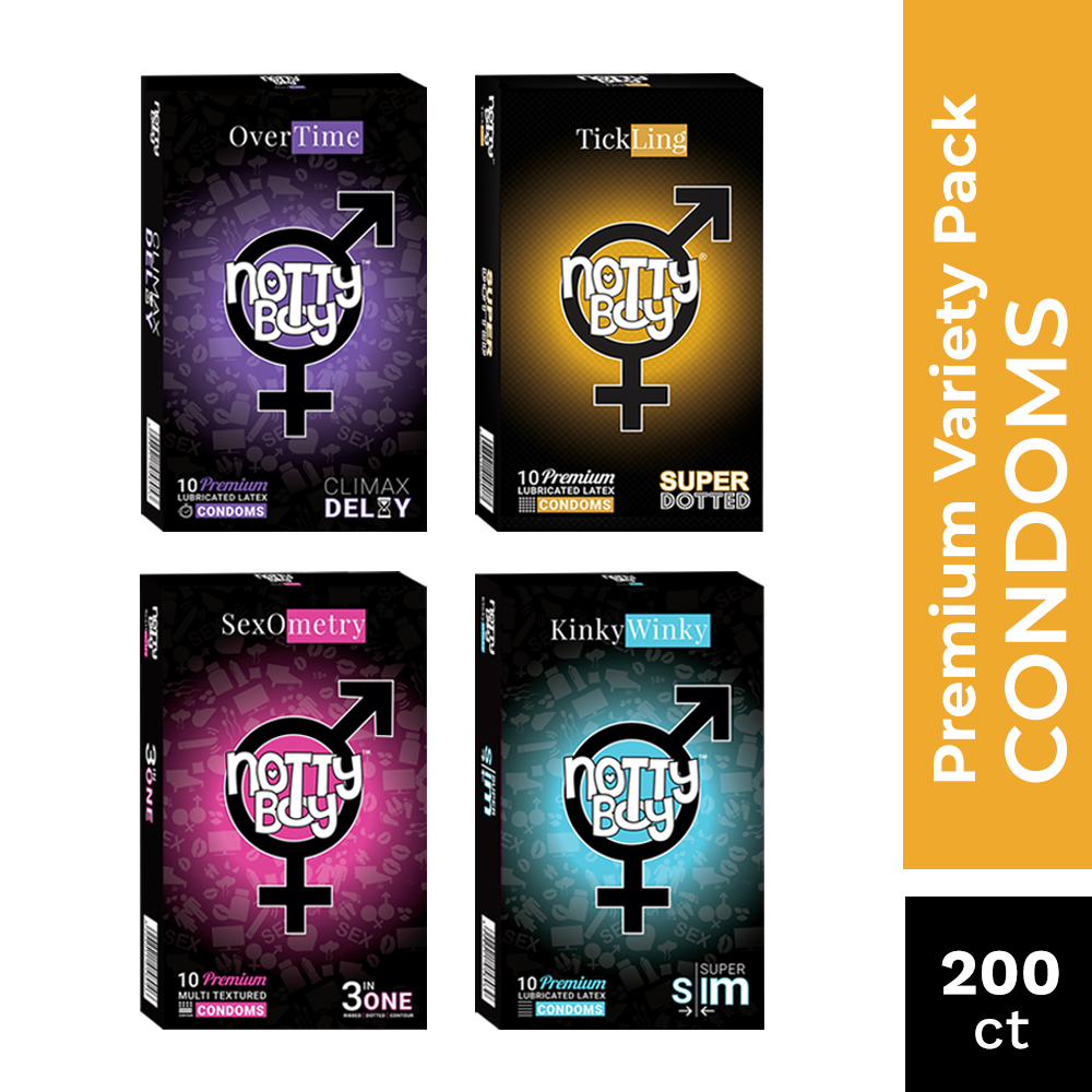 NottyBoy 200 Condoms - Assortment Of 3in1 Ribbed, Extra Dotted and OverTime and Ultra Thin Condoms