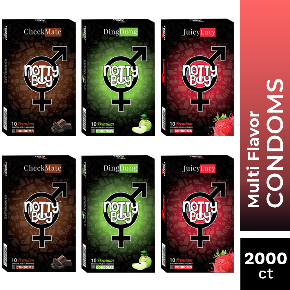 NottyBoy  Condoms - An Assortment Of Lubricated Latex Flavor Condoms - Strawberry, Chocolate and Green Apple Flavor - 2000 Ct