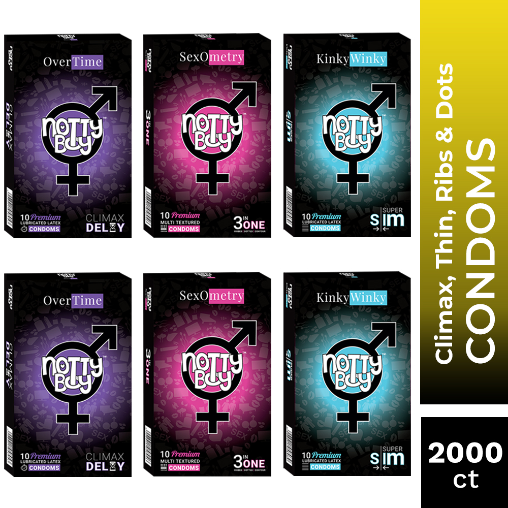 NottyBoy Condoms - Mix Bulk Variety Pack of Over Time Climax Delay, Ribbed, Dotted and Ultra Thin Latex Lubricated Condoms, 20