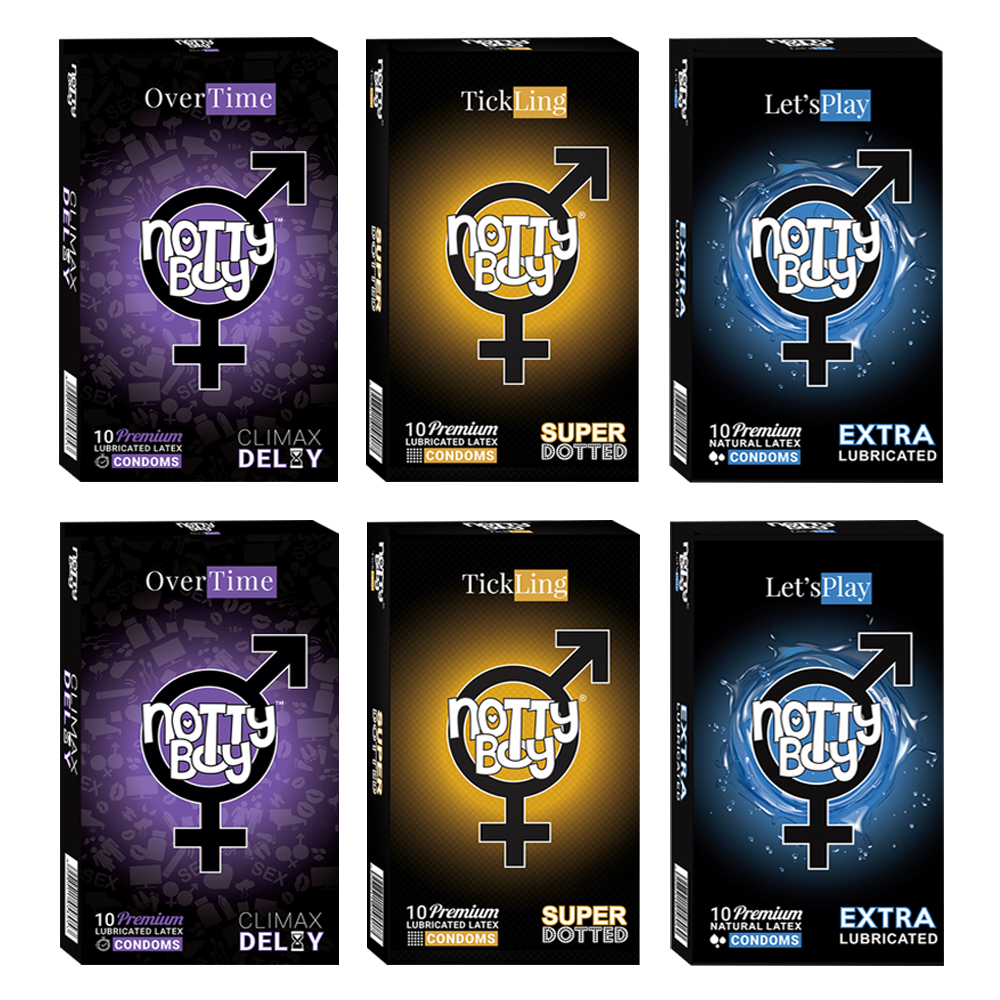 NottyBoy Condoms - 2000 Count- Assortment Of Climax Delay, TickLing Super Dotted and Extra Lubricated Lets Play Condom