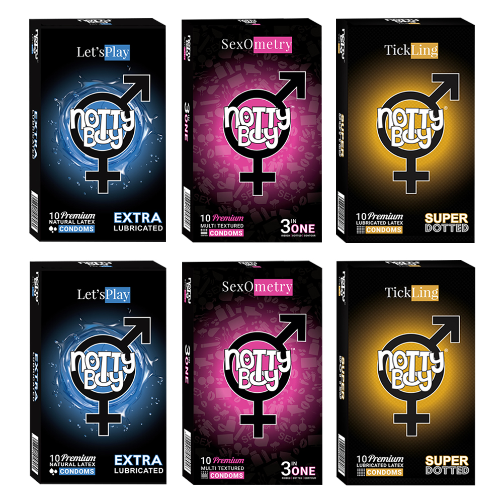 NottyBoy Lets Play Lubricated Plain Textured, Ribbed & Dotted With Contour Shaped Condoms - Pack of 2000
