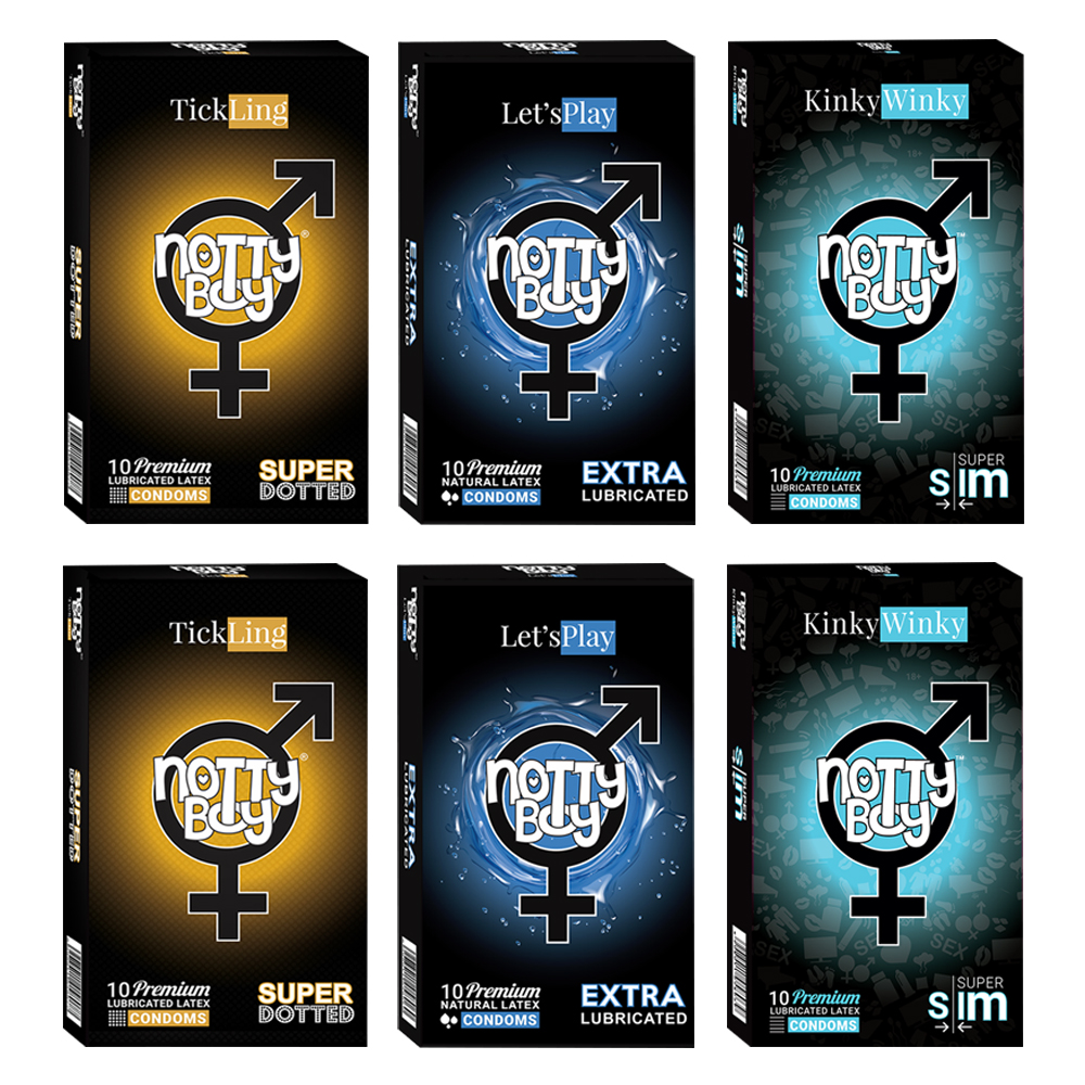 NottyBoy Condoms -2000 Count, A Mixture of Extra Thin, Super Dotted and Extra Lubricated Latex Condoms For Men