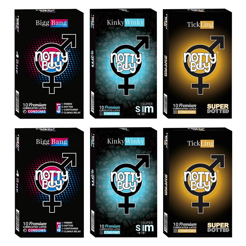 NottyBoy Condoms - Value Pack of 2000 - Climax Delay, Ribbed, Dotted & Contour and Extra Thin Plain Condoms