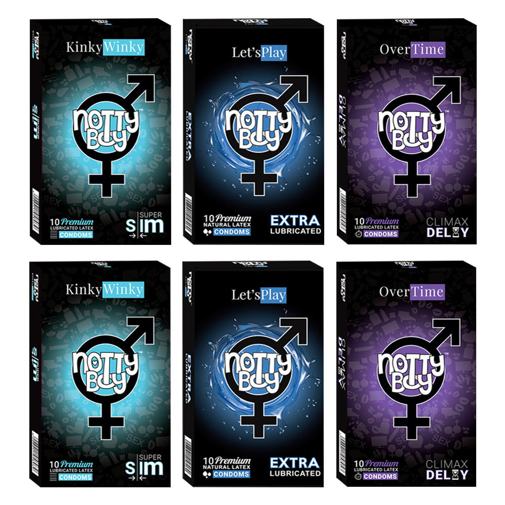 NottyBoy Value Pack Condoms 2000 Count - An Assortment of Climax Delay OverTime, Extra Thin Super Slim and Lets Play Extra Saf
