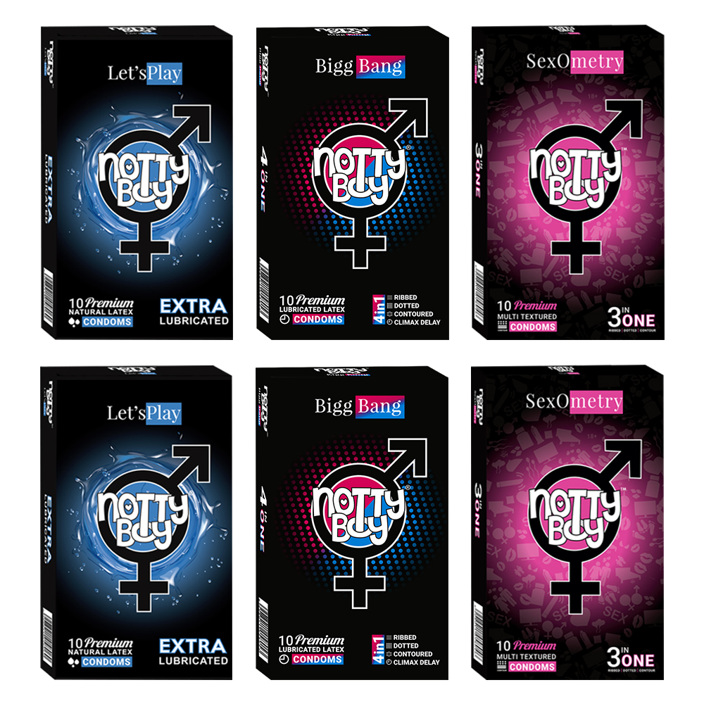NottyBoy Condoms -2000 Count - An Assortment Of Climax Delay, Ribbed, Dotted, Lets Play Extra Lubricated Condoms