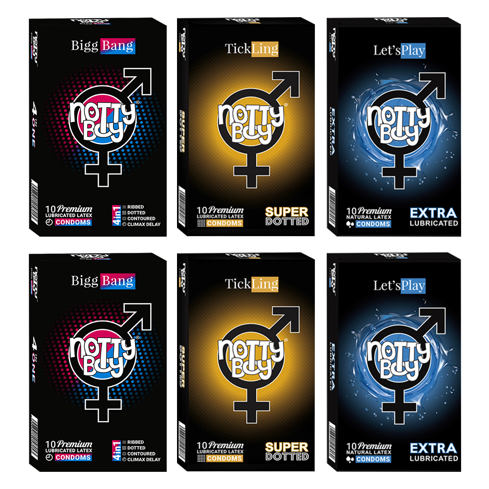 NottyBoy Extra Lubricated Lets Play, TickLing Super Dotted and Ribs Dots Delay Contour Condoms - 2000 Lubricated Condoms