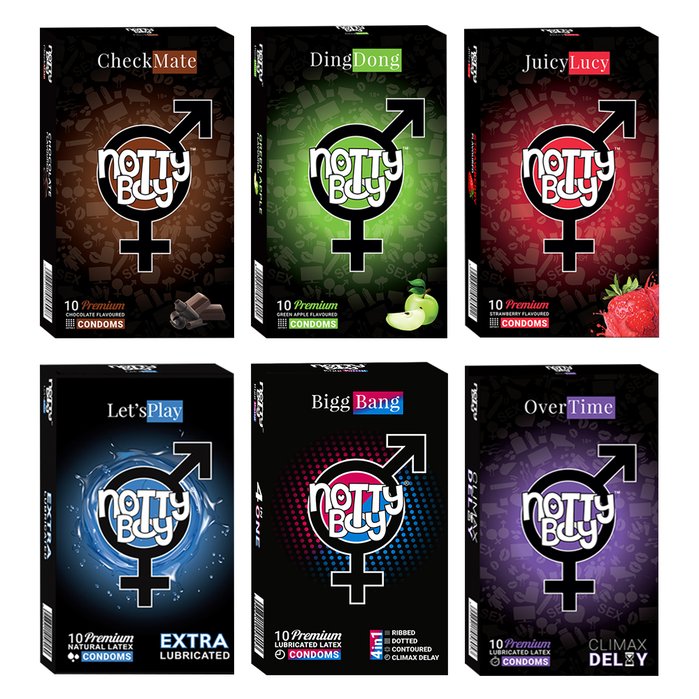 NottyBoy - 1000Ct Bulk Value Pack Condoms come up with tropical fruit flavor, lubricated, dotted ribbed contour extra time and
