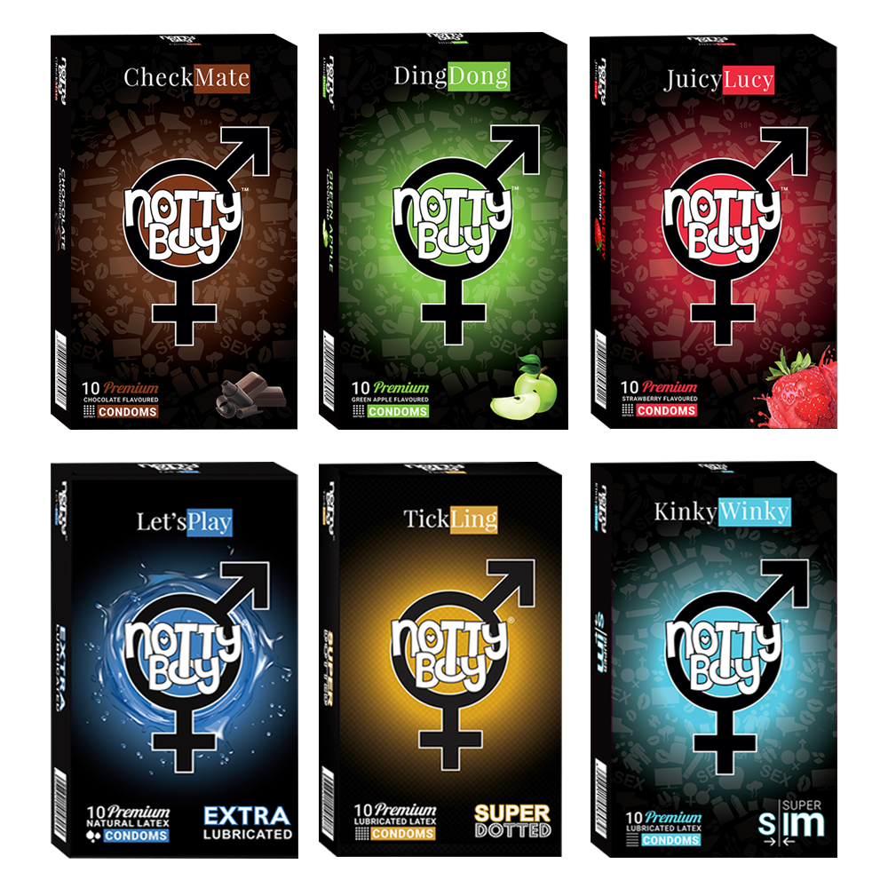 NottyBoy - 1000Ct Bulk Value Pack Condoms come up with tropical fruit flavor, extra dotted, lubricated and extra thin condoms