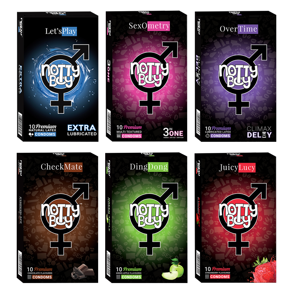 NottyBoy - 1000Ct Bulk Value Pack Condoms come up with tropical fruit flavor, lubricated, multi textured and climax delay cond