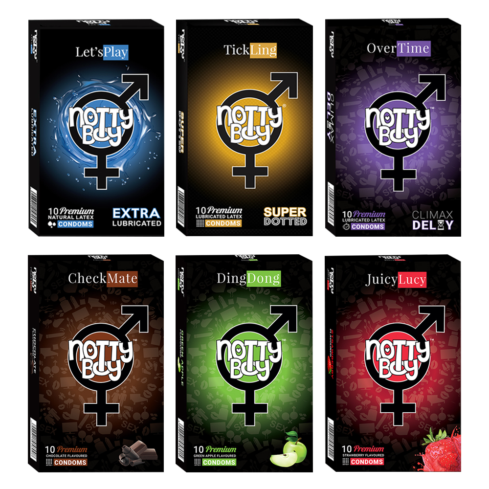 NottyBoy - 1000Ct Bulk Value Pack Condoms come up with tropical fruit flavor, lubricated, climax delay and extra dotted condom