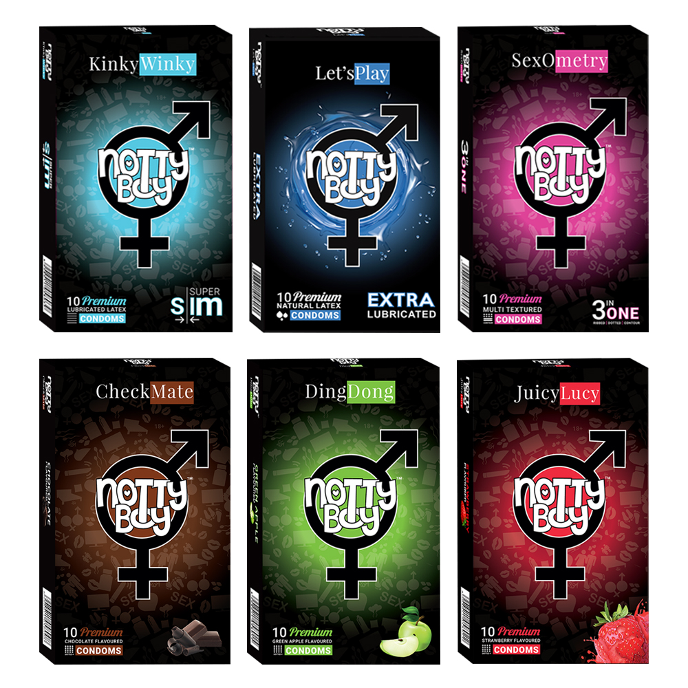 NottyBoy - 1000Ct Bulk Value Pack Condoms come up with tropical fruit flavor, lubricated, extra thin and multi textured condom