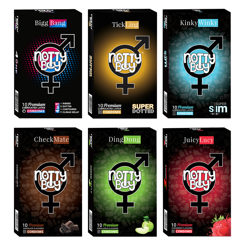 NottyBoy - 1000Ct Bulk Value Pack Condoms come up with tropical fruit flavor, dotted ribbed contour extra time, extra thin and