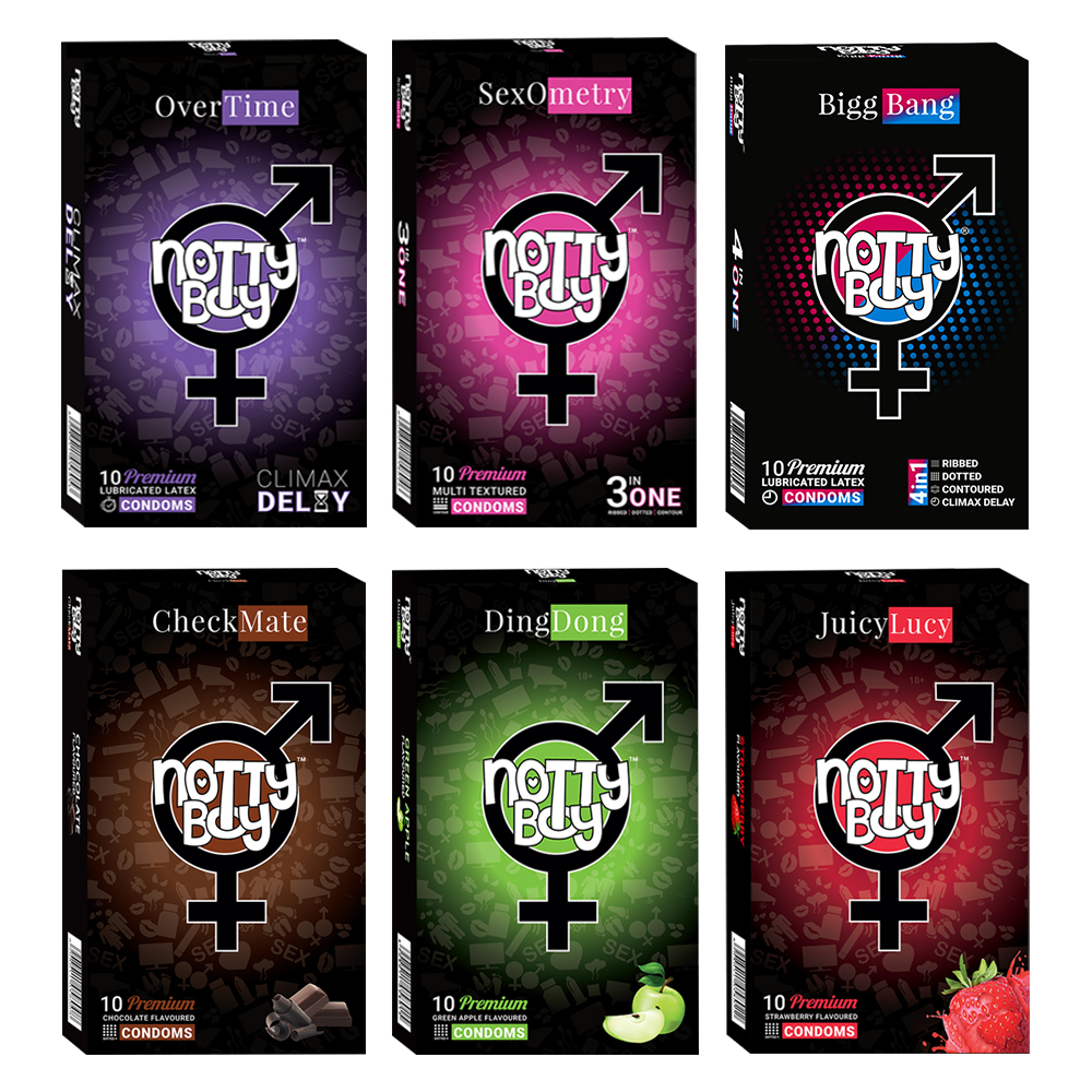 NottyBoy - 1000Ct Bulk Value Pack Condoms come up with tropical fruit flavor, dotted ribbed contour extra time, multi textured