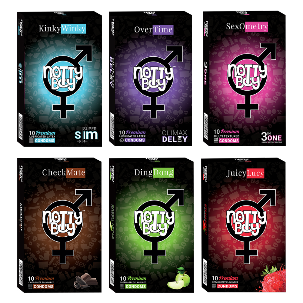 NottyBoy - 1000Ct Bulk Value Pack Condoms come up with tropical fruit flavor, extra thin, multi textured and climax delay cond