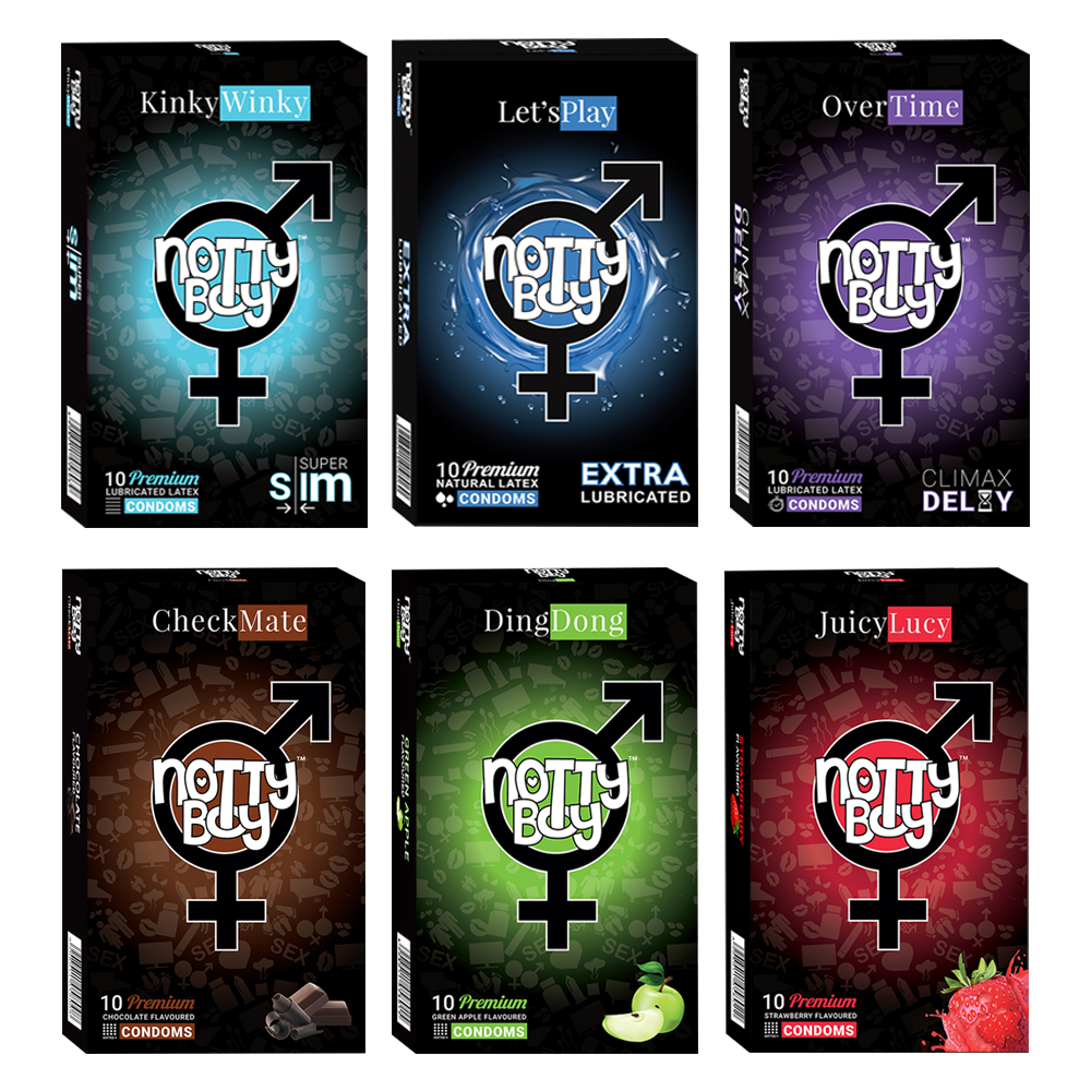 NottyBoy - 1000Ct Bulk Value Pack Condoms come up with tropical fruit flavor, climax delay, lubricated and extra thin condoms