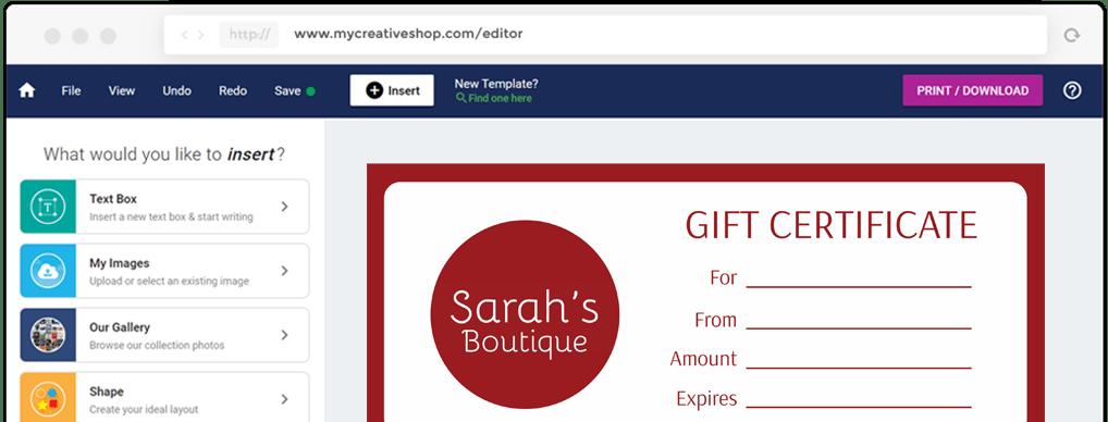 MyCreativeShop Gift Certificate Design Software