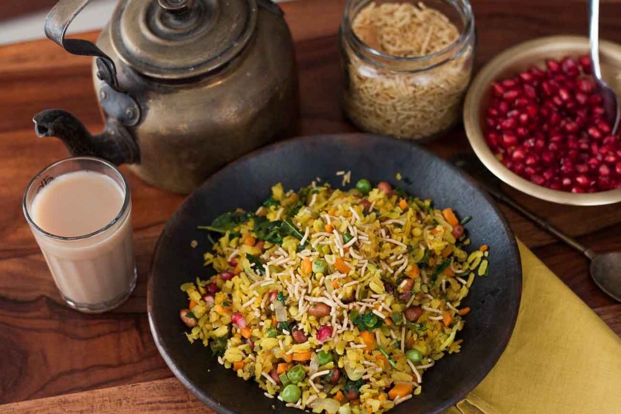 sprouts poha indian breakfast