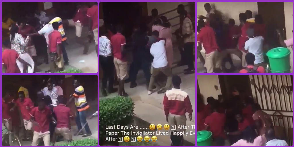 Alleged Brutality: See what these just completed WASSCE Student did to the invigilator after their last paper