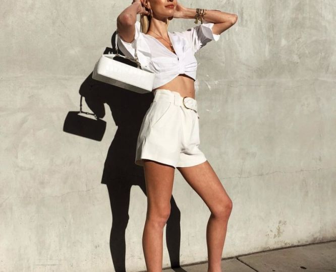 mymaglus-Blog-Summer-Chic-White-Ruched-Cropped-Blouse-White-Linen-Shorts-Green-Square-Toe-Heels-Via-Leoniehanne-Instagram