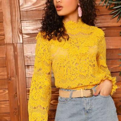 Gelbe glamouröse Bluse