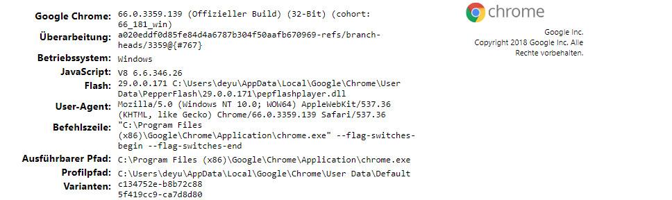 Google Chrome standardmäßig in diesem Pfad gespeichert