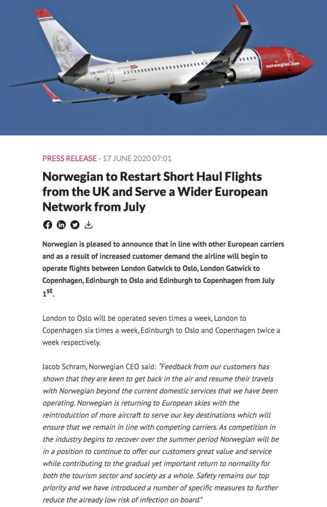 Norwegian Press release