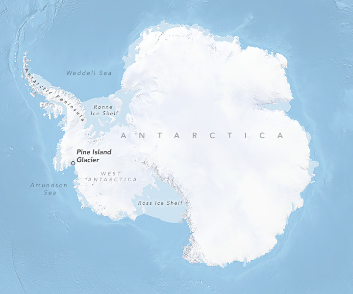 Map of Antarctica clearly showing the location of Pine Island Glacier. Copyright NASA Earth Observatory.
