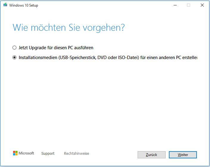 Installationsmedien (USB-Speicherstick, DVD oder ISO-Datei) für einen anderen PC erstellen