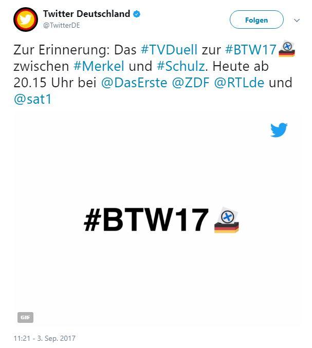 Twitter Post zur Bundestagswahl TV Duell