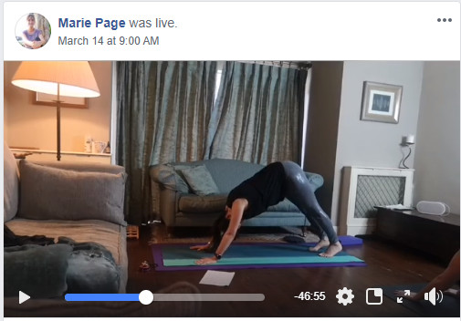 Screen grab from Facebook Livestreamed yoga class