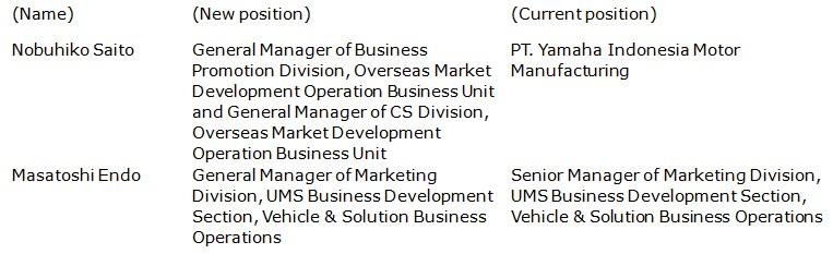 Announcement of Personnel Changes - Yamaha Motor Co , Ltd