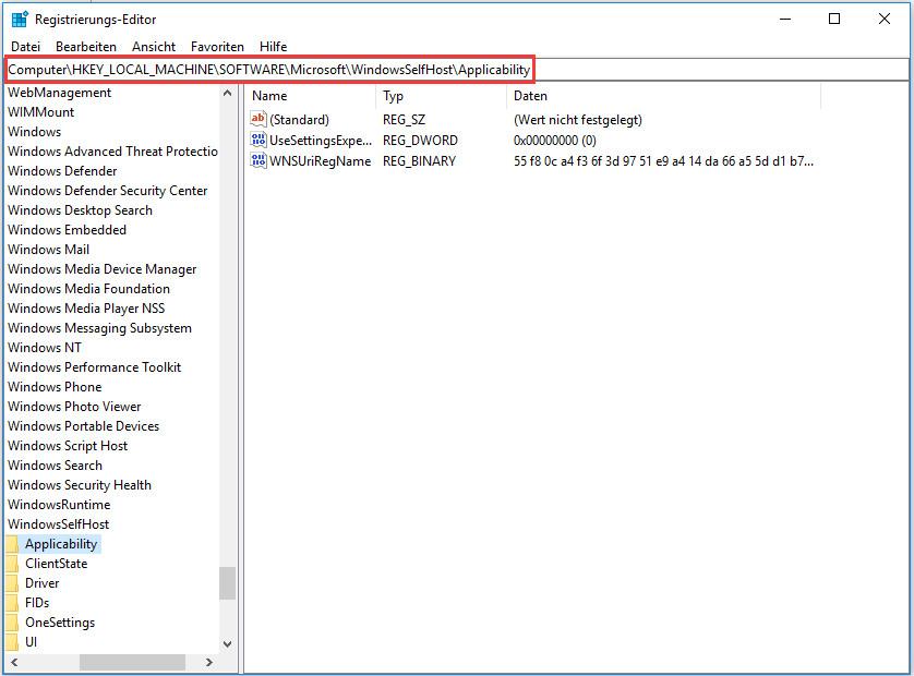 Computer\HKEY_LOCAL_MACHINE\SOFTWARE\Microsoft\WindowsSelfHost\Applicability