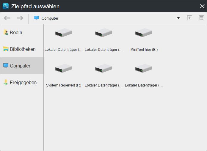 Festplatte auszuwählen