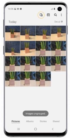Tryk på ikonet for at gruppere / fjerne  gruppering af billeder i galleriet på Galaxy S10