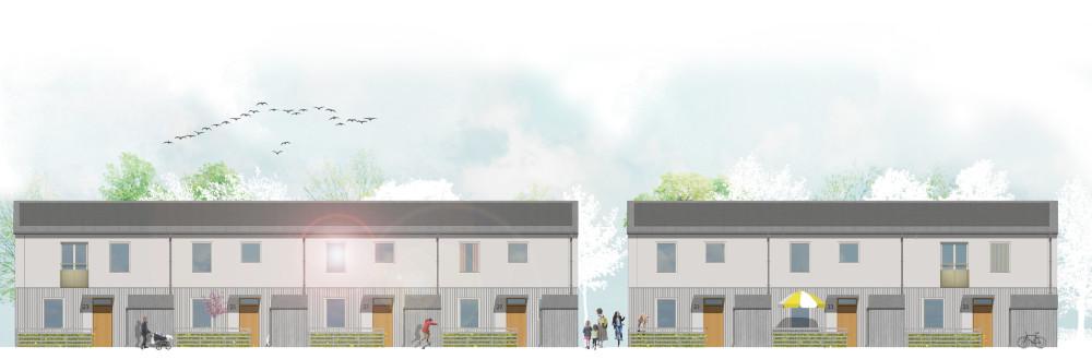 Skissbild från planerna på kvarteret Signallottan i Visby