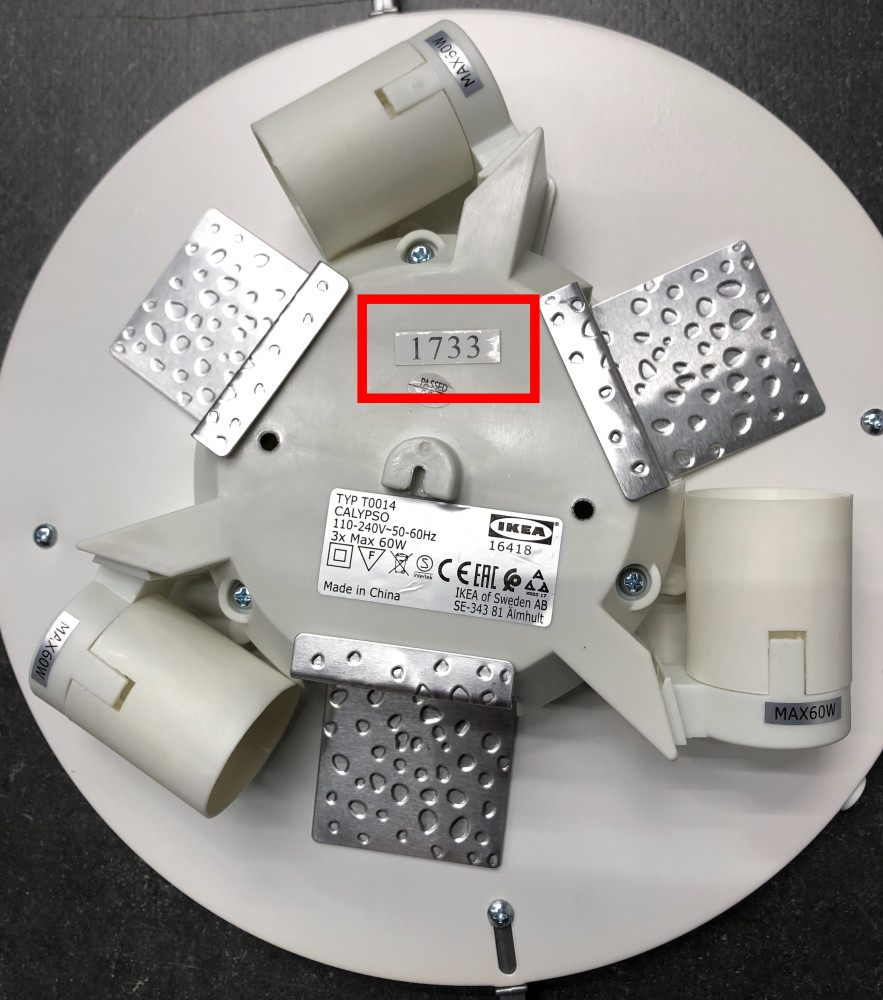 IKEA återkallar ett begränsat antal CALYPSO plafonder – risk